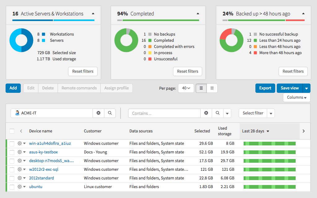 SW Backup Dash Sample